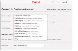 Pinterset Convert Personal Account to Business Account