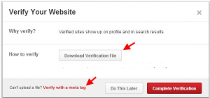 Pinterest Verify Website