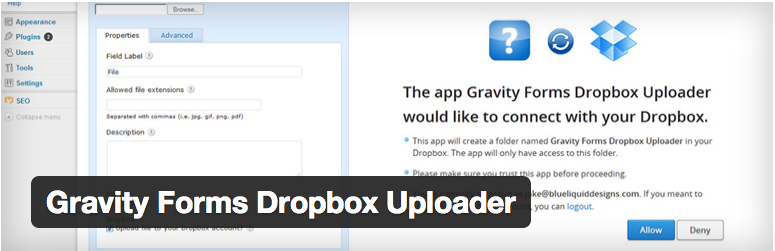 gravity forms to dropbox