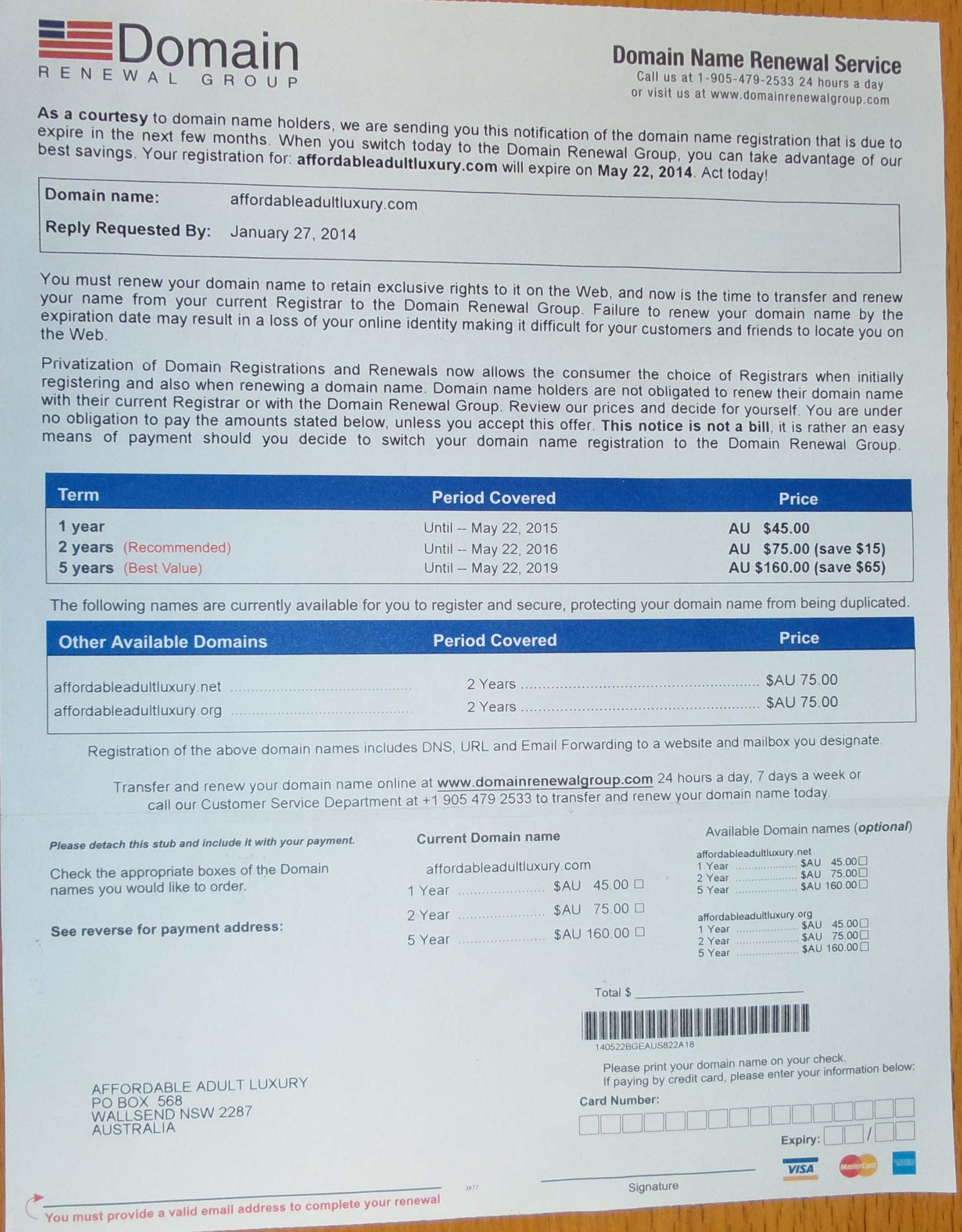 fraud domain renewal letter 1