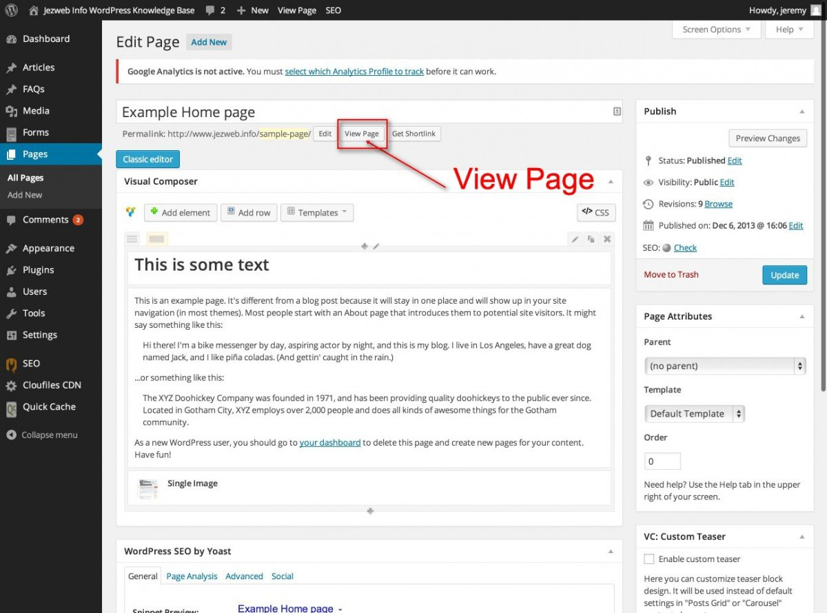Editing the homepage with visual composer web design with view the live page pronofoot35fo Image collections