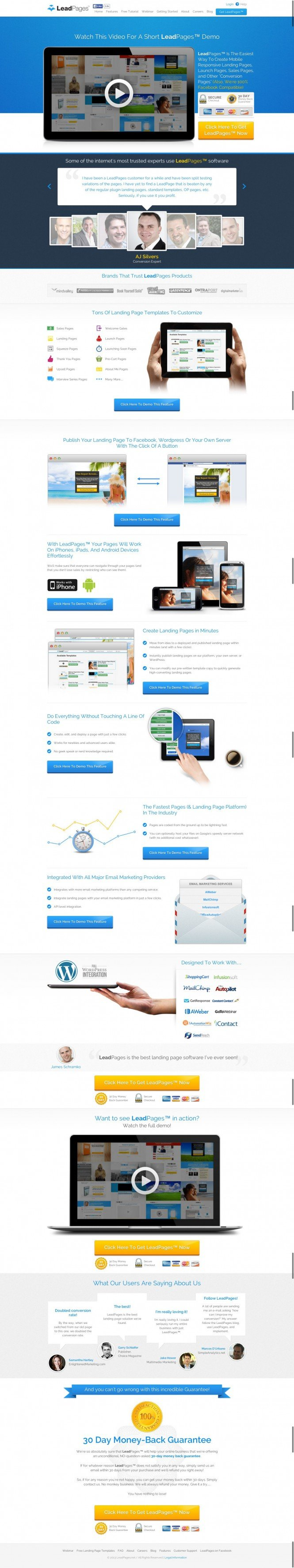 LeadPages Software - Mobile Responsive Landing Page Generator