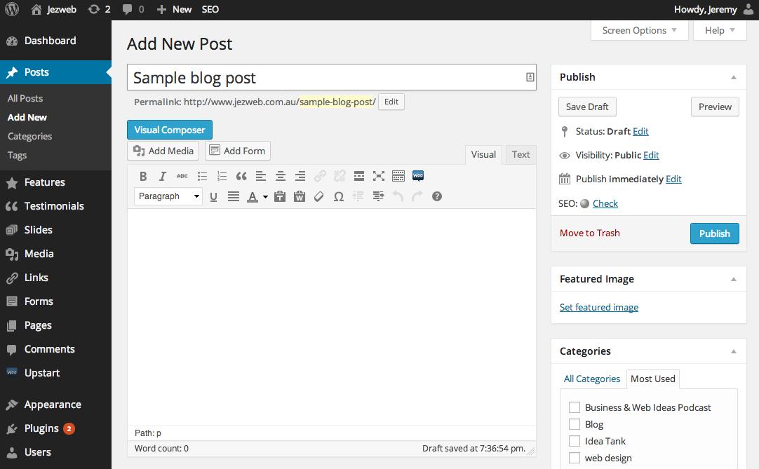 creating a blog post