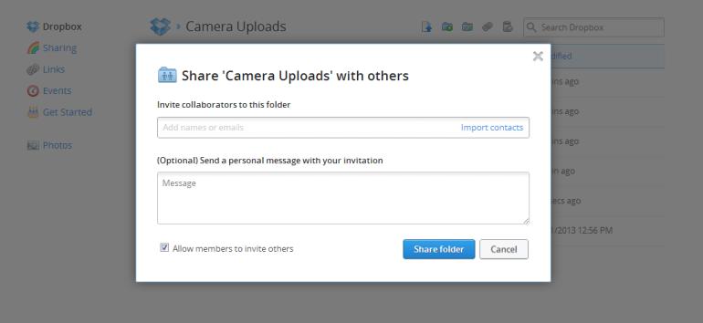 Share camera uploads