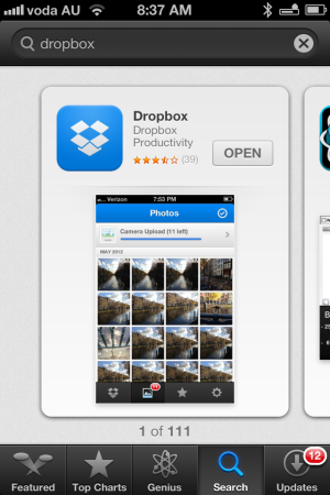 dropbox on the iphone app store
