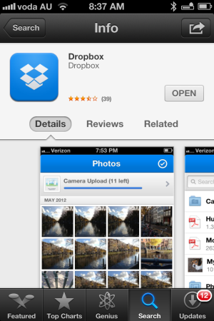 install dropbox on the iphone