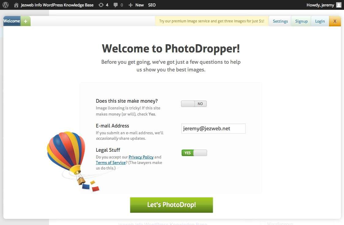 Accept the licence for Photodropper