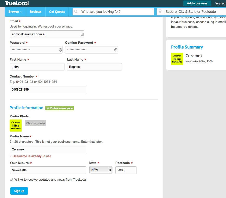Add a business listing to TrueLocal - Web Design with