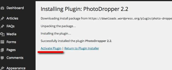 activate the photodropper plugin