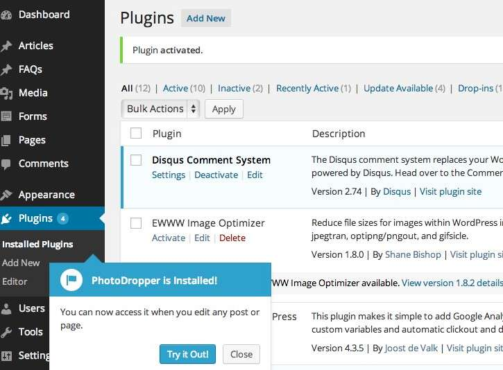 Photodropper plugin is active and ready to use