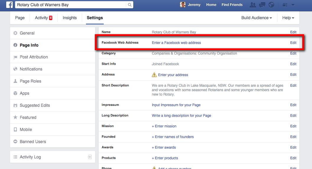 Create a personalized URL of your Facebook page - Web Design with ...