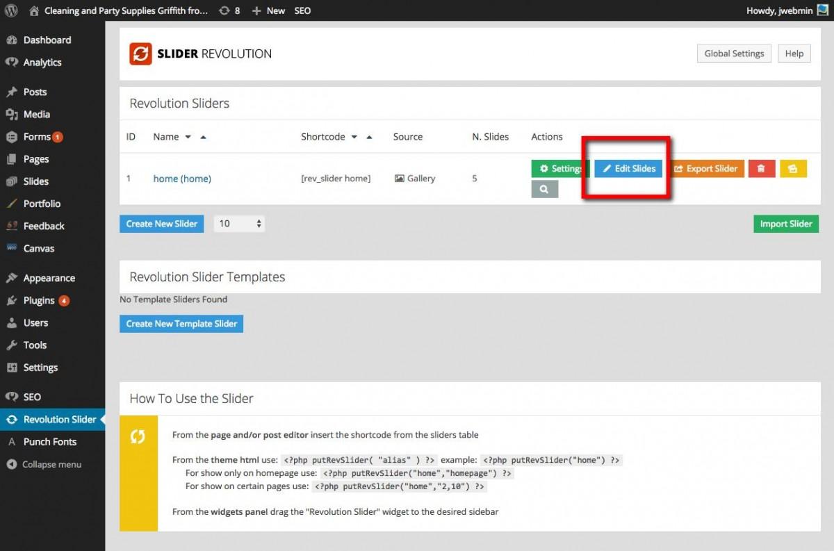 updating image in revolution slider web design with wordpressweb