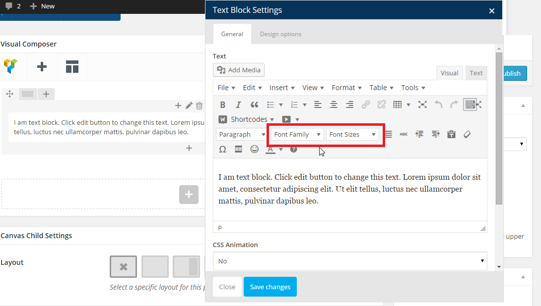 How to change font size and type using TinyMCE Advanced